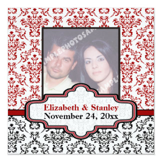 """Black white red damask wedding Save the Date 5.25"""" Square Invitation Card"""