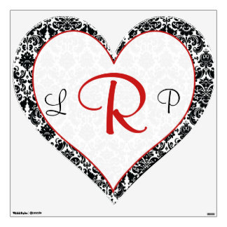 Black White Red Damask Wedding Wall/Floor Decal