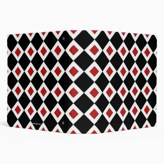 Black, White, Red Diamond Pattern 3 Ring Binder