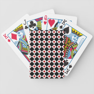 Black, White, Red Diamond Pattern Bicycle Playing Cards