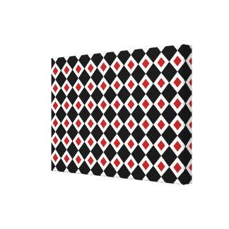 Black, White, Red Diamond Pattern Canvas Print