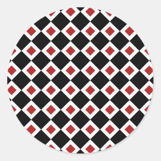 Black, White, Red Diamond Pattern Classic Round Sticker
