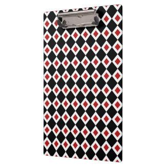 Black, White, Red Diamond Pattern Clipboard