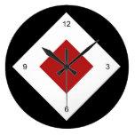 Black, White, Red Diamond Pattern Clock