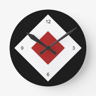Black, White, Red Diamond Pattern Clock