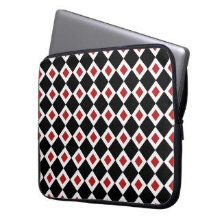 Black, White, Red Diamond Pattern Computer Sleeve