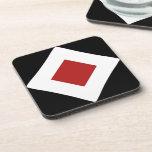 Black, White, Red Diamond Pattern Beverage Coasters