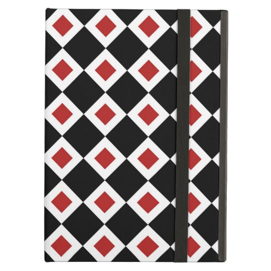 Black, White, Red Diamond Pattern Cover For iPad Air