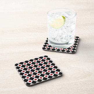 Black, White, Red Diamond Pattern Drink Coaster