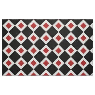 Black, White, Red Diamond Pattern Fabric