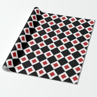Black, White, Red Diamond Pattern gift wrap