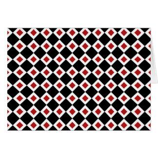 Black, White, Red Diamond Pattern Greeting Card