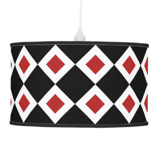 Black, White, Red Diamond Pattern Hanging Lamp