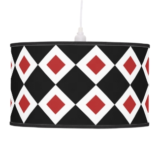 Black, White, Red Diamond Pattern