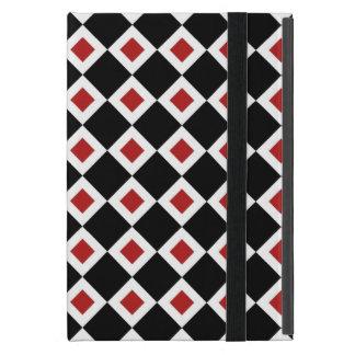 Black, White, Red Diamond Pattern iPad Mini Case