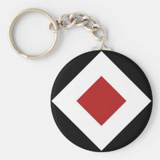 Black, White, Red Diamond Pattern Basic Round Button Keychain