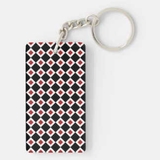 Black, White, Red Diamond Pattern Keychain