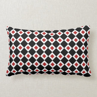 Black, White, Red Diamond Pattern Lumbar Pillow