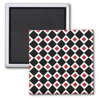 Black, White, Red Diamond Pattern Magnet