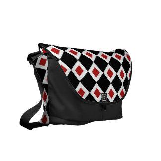 Black, White, Red Diamond Pattern Messenger Bag