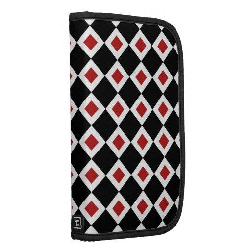 Black, White, Red Diamond Pattern Organizers