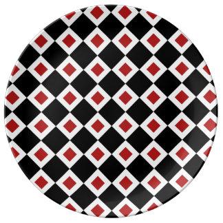 Black, White, Red Diamond Pattern Plate