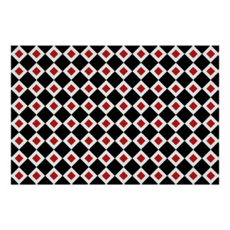 Black, White, Red Diamond Pattern Poster