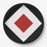 Black, White, Red Diamond Pattern 9 Inch Paper Plate