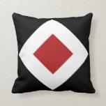 Black, White, Red Diamond Pattern Throw Pillow