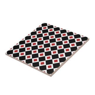 Black, White, Red Diamond Pattern Tile
