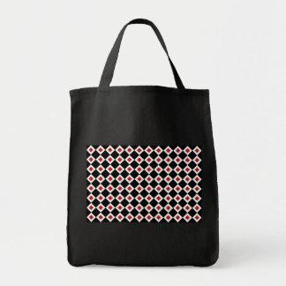 Black, White, Red Diamond Pattern Tote Bag