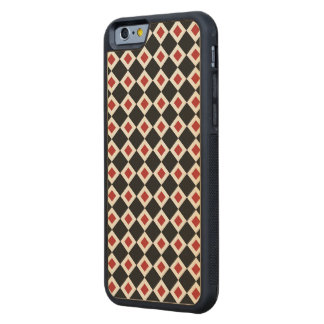 Black, White, Red Diamond Pattern Carved® Maple iPhone 6 Bumper Case