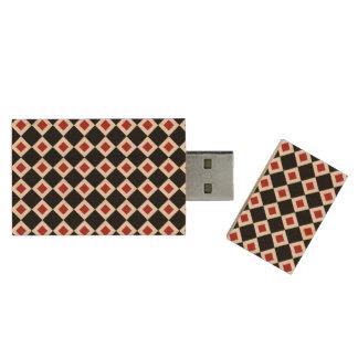 Black, White, Red Diamond Pattern Wood Flash Drive