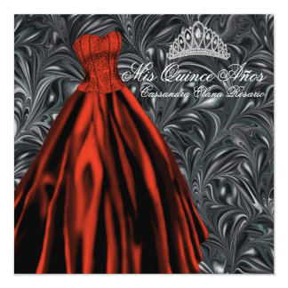 Black White Red Dress Black Red Quinceanera Card