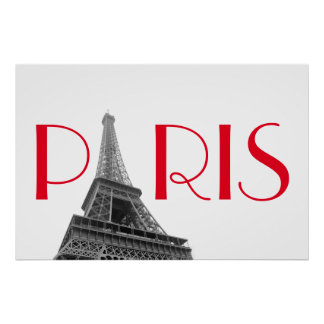 Black & White Red Eiffel Tower Paris Travel Poster
