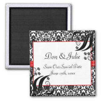 Black, White, & Red Floral Damask 2 Inch Square Magnet