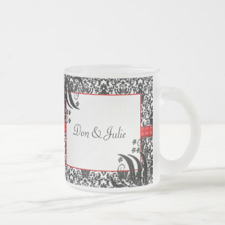 Black, White, & Red Floral Damask Frosted Glass Coffee Mug