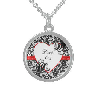 Black, White, & Red Floral Damask Round Pendant Necklace