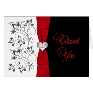 Black White Red Floral, Heart Thank You Card