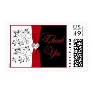 Black White Red Floral, Heart Thank You Postage