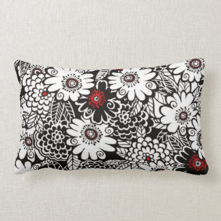 Black/White/Red Floral Pillows