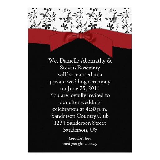Black White Red Floral Post Wedding Invitation