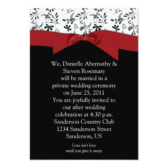 Black White Red Floral Post Wedding Invitation