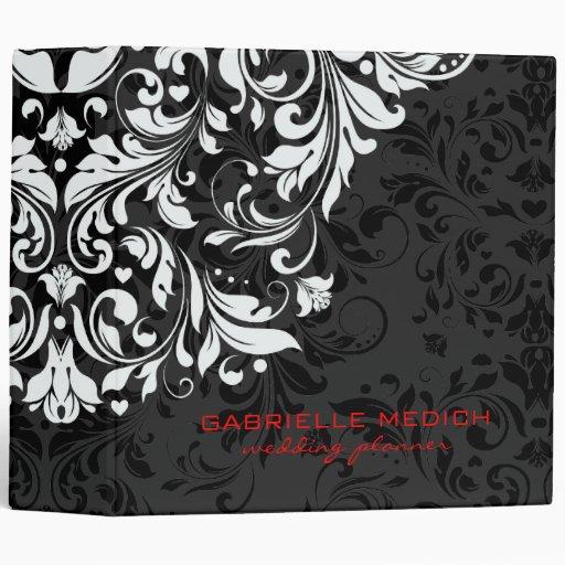Black, White & Red Floral Vintage Damasks 3 Ring Binders