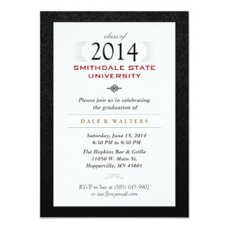 Black White & Red Formal Grad Invite
