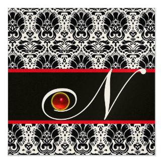 BLACK WHITE RED GOLD DAMASK MONOGRAM Ruby Personalized Invitation