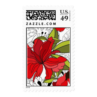Black & White Red & Green Flower Pattern Stamps