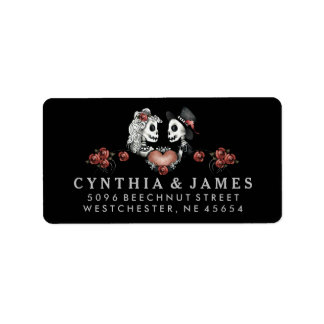 Black White & Red Halloween Skeletons Wedding Label