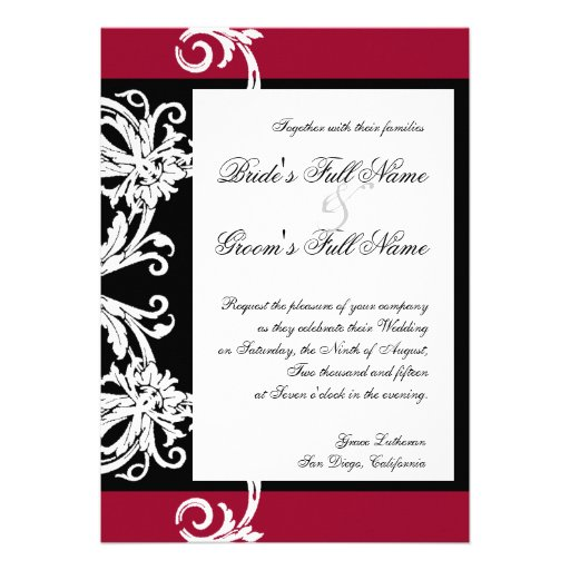 Black White Red Heart Damask Wedding Invitations