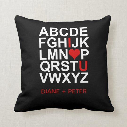 Black White Red Heart Love Pillow